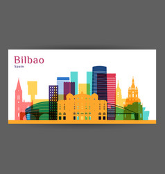 bilbao city architecture silhouette colorful vector image