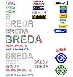 Breda text design set vector image