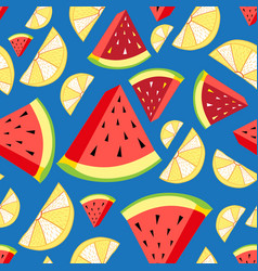 bright pattern lemon slices and watermelon vector image