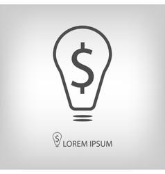 Bulb with dollar as business idea sign vector image