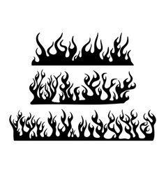 burning fire flame silhouette set banner vector image