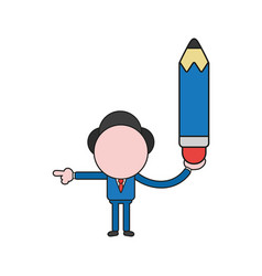 Businessman character holding pencil and pointing vector