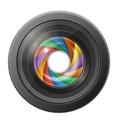 Camera lens with multicolored shutter open vector