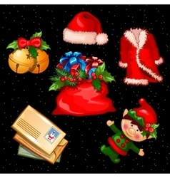 Christmas set of accessories clothes and objects vector image