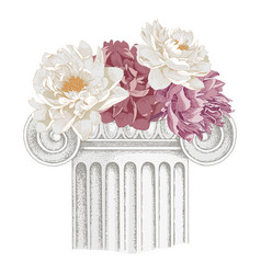 classic antique marble column with flowers vector image