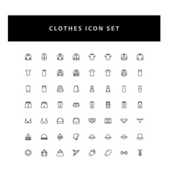 clothes icon set with outline design vector image