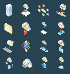 cloud technology isometric icons vector image