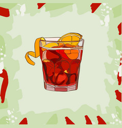 cocktail americano scetch classic alcoholic vector image