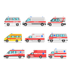 collection of ambulance service cars emergency vector image