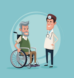 Color background with elderly man in wheelchair vector