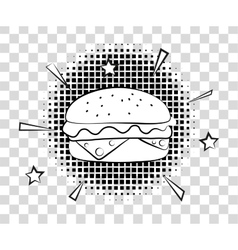 Comic Hamburger with halftone shadows Fast food vector image