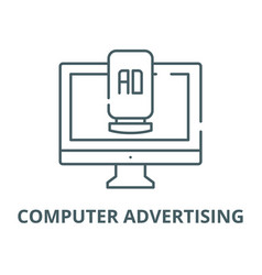 computer advertising line icon linear vector image