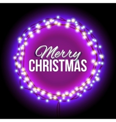 Congratulation to Christmas with purple lights vector