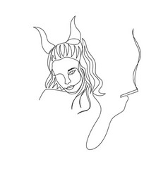 Continuous one line devil woman with horns smoke vector