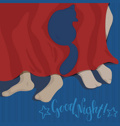 couple sleep with cat good night lettering vector image