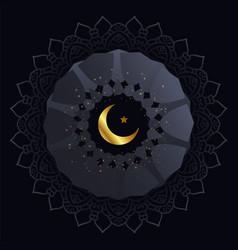 Creative dark background with golden moon and star vector