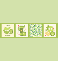 Cucumber skin care set vector