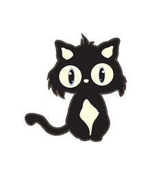 cute cartoon black cat vector image