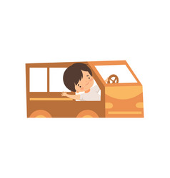 cute creative boy character driving toy car made vector image