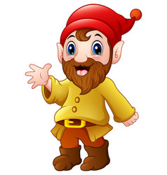 cute dwarf cartoon waving vector image