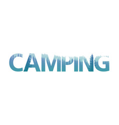 double exposure camping text letter with pine vector image
