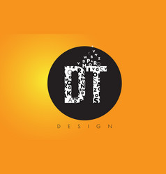Dt d t logo made of small letters with black vector