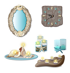 elements of the interior of seashells and tea vector image