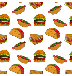 fastfood seamless pattern vector image