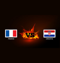 flags of france and croatia against the vs symbol vector image
