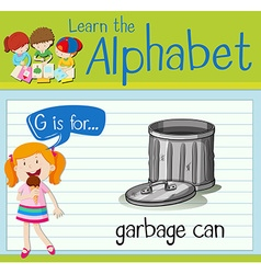 Flashcard letter G is for garbage can vector
