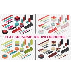 Flat 3d isometric infographic set vector