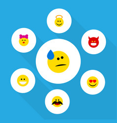 flat icon emoji set of pouting caress tears and vector image