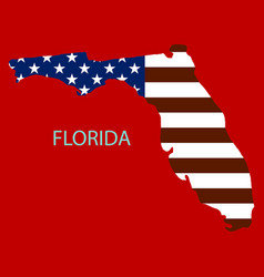 Florida state of america with map flag print on vector