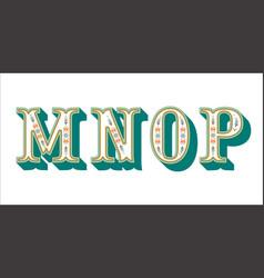 folk alphabet ornamental floral letter m n o p vector image
