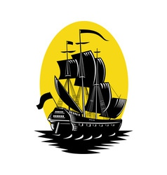 galleon sailing ship at sea vector image