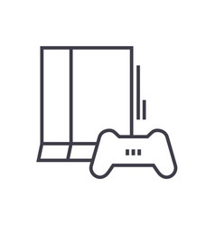 game console line icon sign vector image