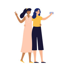 girlfriends posing for photo on smartphone women vector image