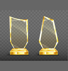Golden award glass trophy with sparkling edges vector