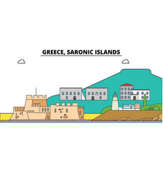 Greece saronic islands city skyline vector