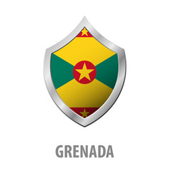 grenada flag on metal shiny shield vector image