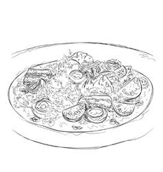 Hand drawn salad sketch Food vector