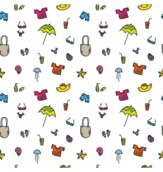 hand drawn summer seamless pattern vector image