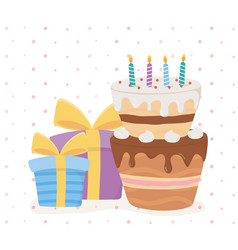 happy birthday cake candles gift boxes surprise vector image