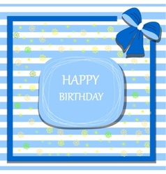 happy birthday card ribbon bow vector image