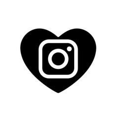 heart black icon dedicated to social instagram vector image