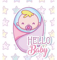 Hello baby cute cartoon vector