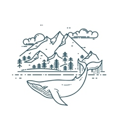 Huge Whale with mountains landscape vector image