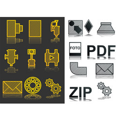 icons set zip pdf foto industrial icons vector image
