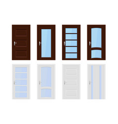 interior doors brown and white wooden set of vector image