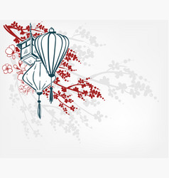 japanese sketch engraved chinese paper lights vector image